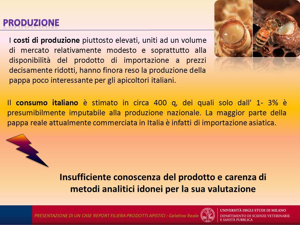 Il consumo italiano è stimato in circa 400 q, dei quali solo dall 1- 3% è presumibilmente imputabile alla produzione nazionale.