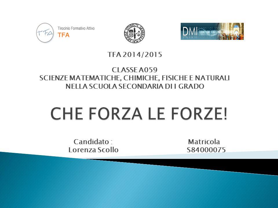 CLASSE A059 SCIENZE MATEMATICHE, CHIMICHE, FISICHE E NATURALI NELLA SCUOLA SECONDARIA DI I GRADO TFA 2014/2015 Candidato : Lorenza Scollo Matricola S84000075