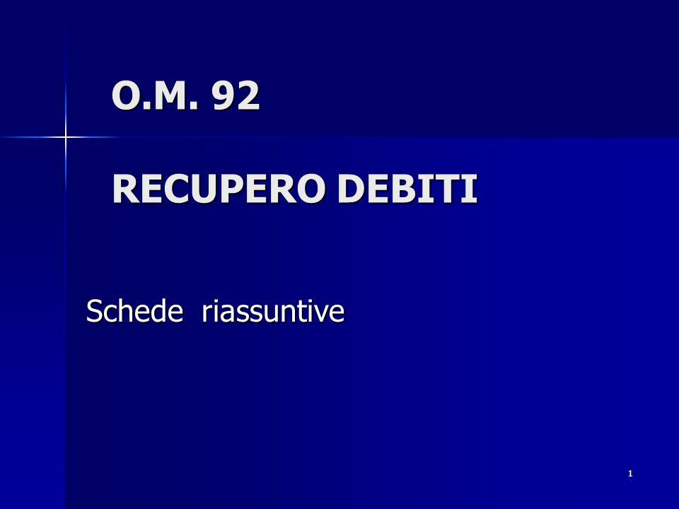 1 O.M. 92 RECUPERO DEBITI Schede riassuntive