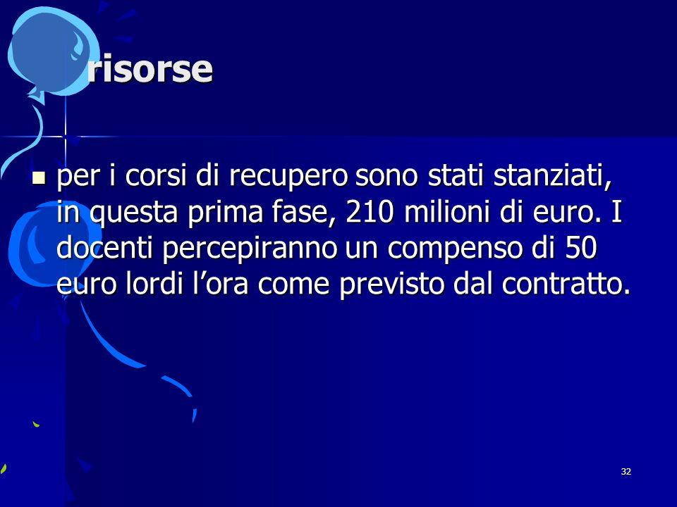 32 risorse per i corsi di recupero sono stati stanziati, in questa prima fase, 210 milioni di euro.