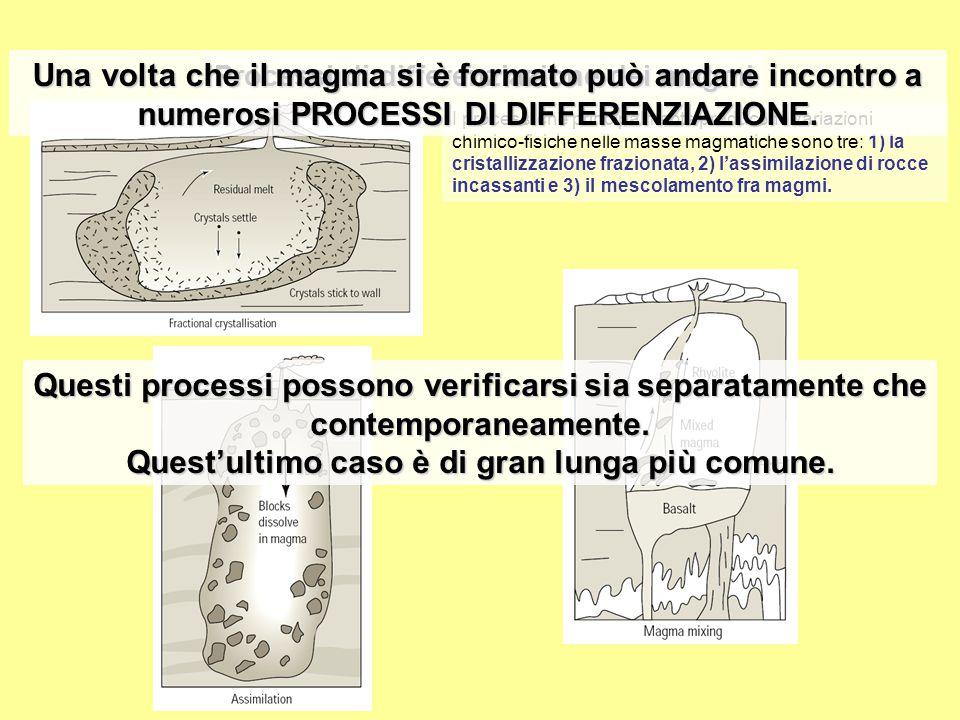 Processi di differenziazione dei magmi I processi che principalmente producono variazioni chimico-fisiche nelle masse magmatiche sono tre: 1) la crist