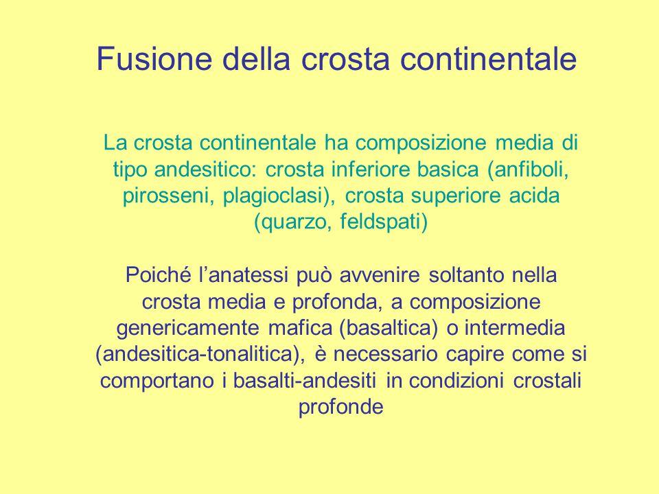 Fusione della crosta continentale La crosta continentale ha composizione media di tipo andesitico: crosta inferiore basica (anfiboli, pirosseni, plagioclasi), crosta superiore acida (quarzo, feldspati) Poiché l'anatessi può avvenire soltanto nella crosta media e profonda, a composizione genericamente mafica (basaltica) o intermedia (andesitica-tonalitica), è necessario capire come si comportano i basalti-andesiti in condizioni crostali profonde