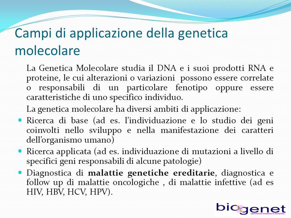 Campi di applicazione della genetica molecolare La Genetica Molecolare studia il DNA e i suoi prodotti RNA e proteine, le cui alterazioni o variazioni possono essere correlate o responsabili di un particolare fenotipo oppure essere caratteristiche di uno specifico individuo.