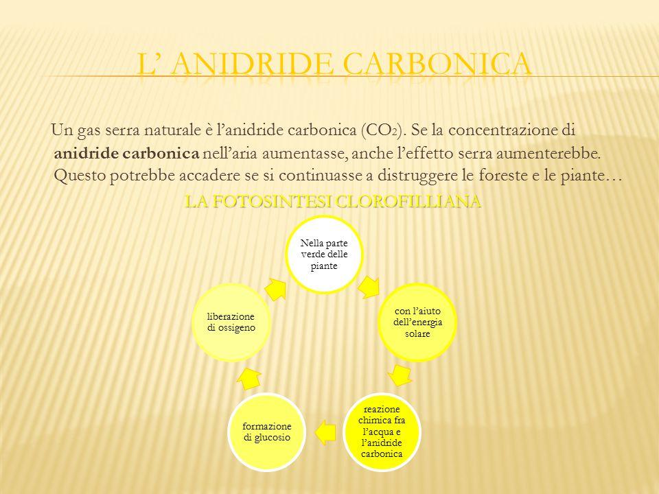 Un gas serra naturale è l'anidride carbonica (CO 2 ). Se la concentrazione di anidride carbonica nell'aria aumentasse, anche l'effetto serra aumentere