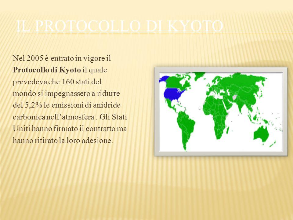 Nel 2005 è entrato in vigore il Protocollo di Kyoto il quale prevedeva che 160 stati del mondo si impegnassero a ridurre del 5,2% le emissioni di anid