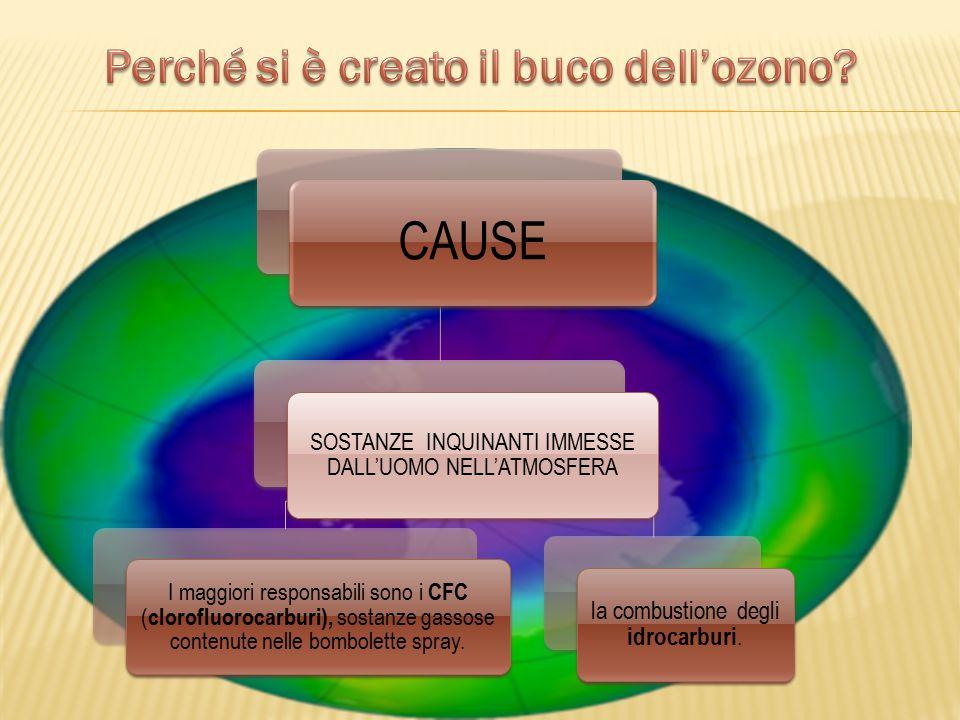 CAUSE SOSTANZE INQUINANTI IMMESSE DALL'UOMO NELL'ATMOSFERA I maggiori responsabili sono i CFC ( clorofluorocarburi), sostanze gassose contenute nelle