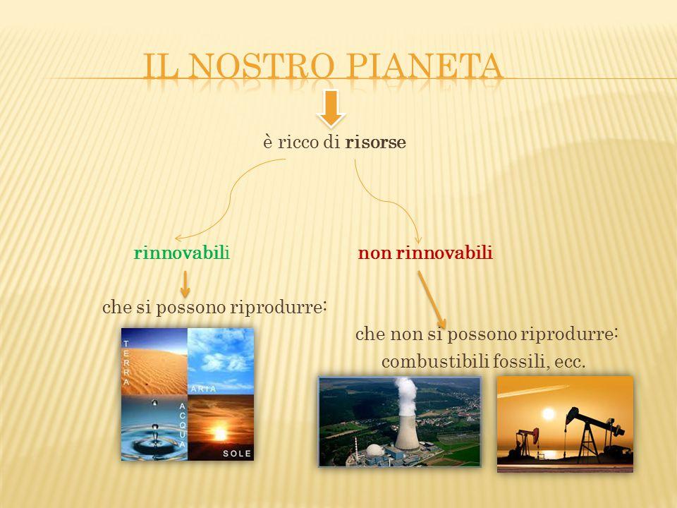 è ricco di risorse rinnovabili non rinnovabili che si possono riprodurre: che non si possono riprodurre: combustibili fossili, ecc.