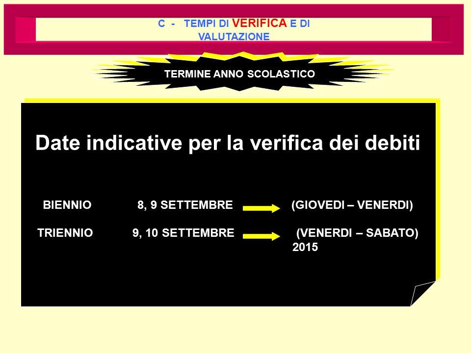 C - TEMPI DI VERIFICA E DI VALUTAZIONE TERMINE ANNO SCOLASTICO Date indicative per la verifica dei debiti BIENNIO 8, 9 SETTEMBRE (GIOVEDI – VENERDI) T