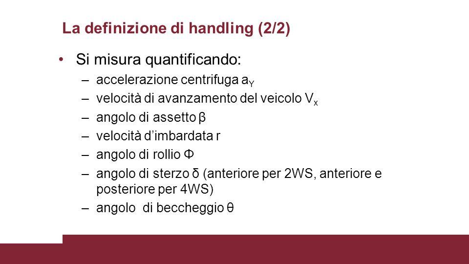 La definizione di handling (2/2) Si misura quantificando: –accelerazione centrifuga a Y –velocità di avanzamento del veicolo V x –angolo di assetto β