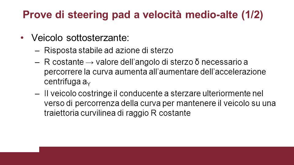 Prove di steering pad a velocità medio-alte (1/2) Veicolo sottosterzante: –Risposta stabile ad azione di sterzo –R costante → valore dell'angolo di st