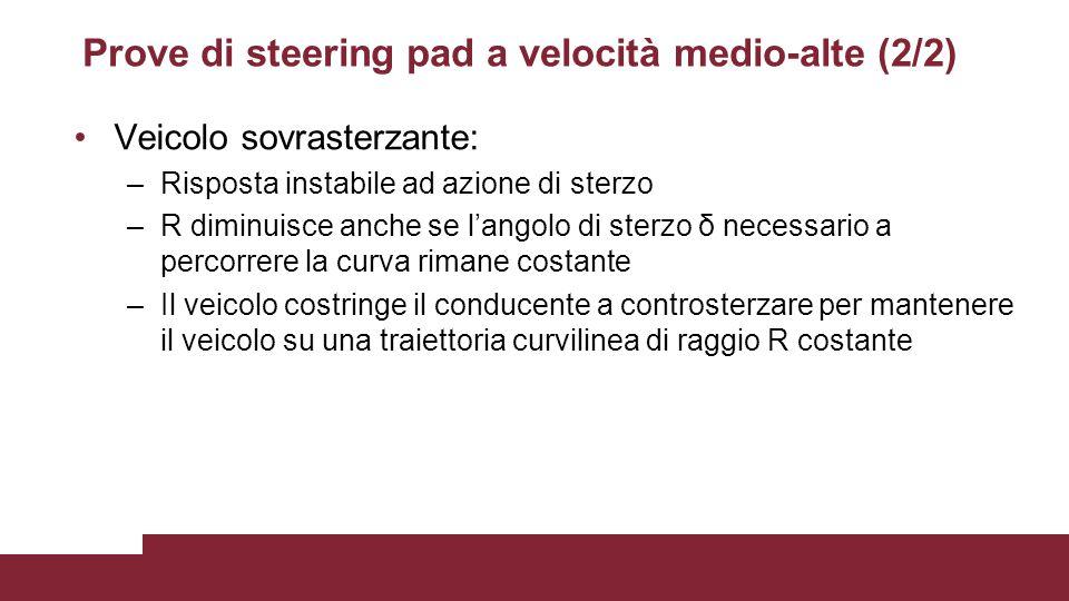 Prove di steering pad a velocità medio-alte (2/2) Veicolo sovrasterzante: –Risposta instabile ad azione di sterzo –R diminuisce anche se l'angolo di s