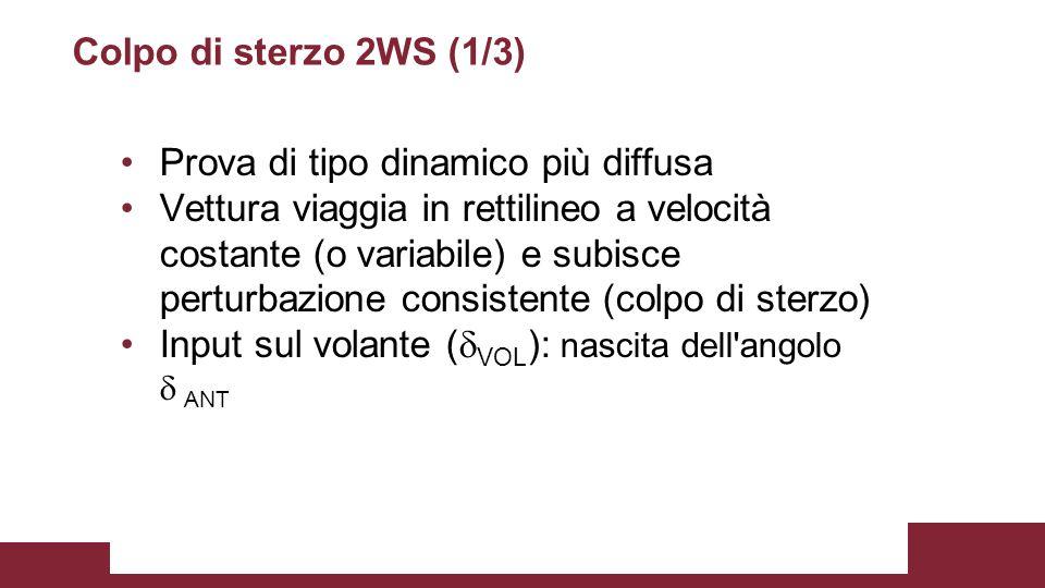 Colpo di sterzo 2WS (1/3) Prova di tipo dinamico più diffusa Vettura viaggia in rettilineo a velocità costante (o variabile) e subisce perturbazione c