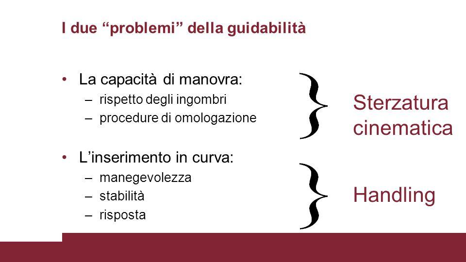 """I due """"problemi"""" della guidabilità La capacità di manovra: –rispetto degli ingombri –procedure di omologazione L'inserimento in curva: –manegevolezza"""