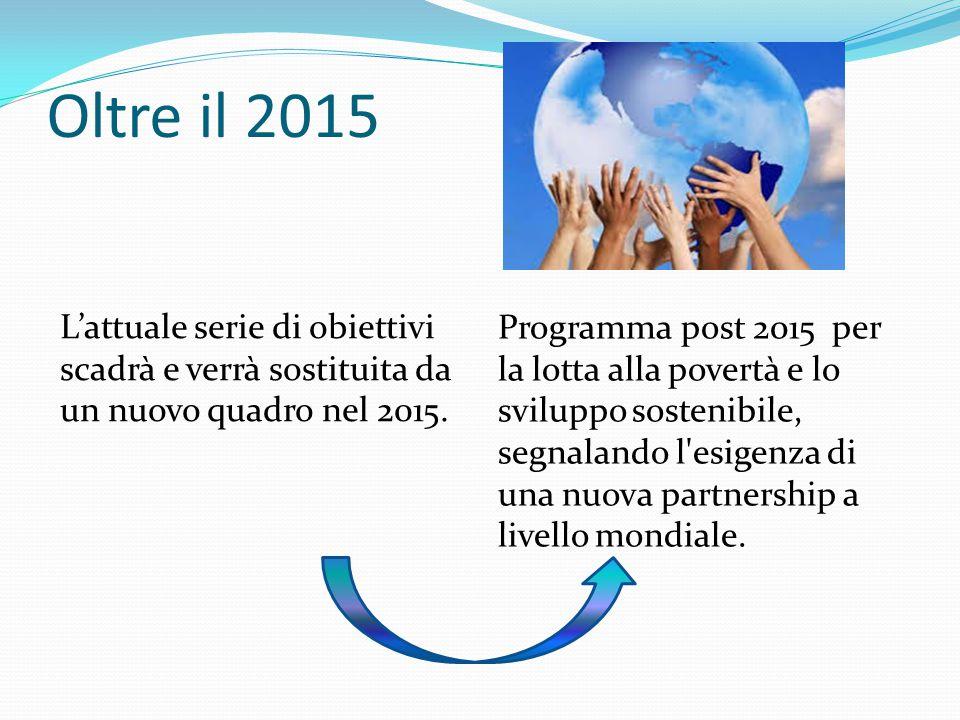 Oltre il 2015 L'attuale serie di obiettivi scadrà e verrà sostituita da un nuovo quadro nel 2015.