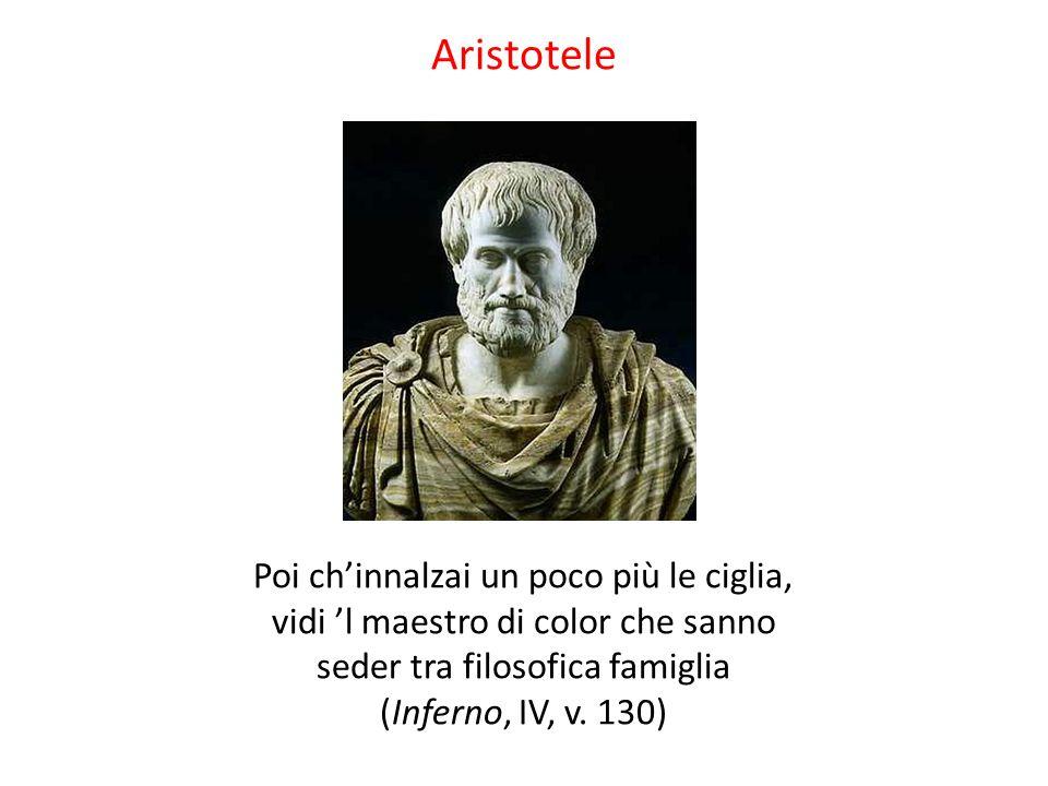 Aristotele Poi ch'innalzai un poco più le ciglia, vidi 'l maestro di color che sanno seder tra filosofica famiglia (Inferno, IV, v. 130)
