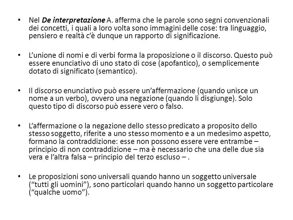 Nel De interpretazione A. afferma che le parole sono segni convenzionali dei concetti, i quali a loro volta sono immagini delle cose: tra linguaggio,
