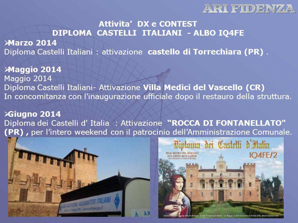 Attivita' DX e CONTEST DIPLOMA CASTELLI ITALIANI - ALBO IQ4FE  Marzo 2014 Diploma Castelli Italiani : attivazione castello di Torrechiara (PR).