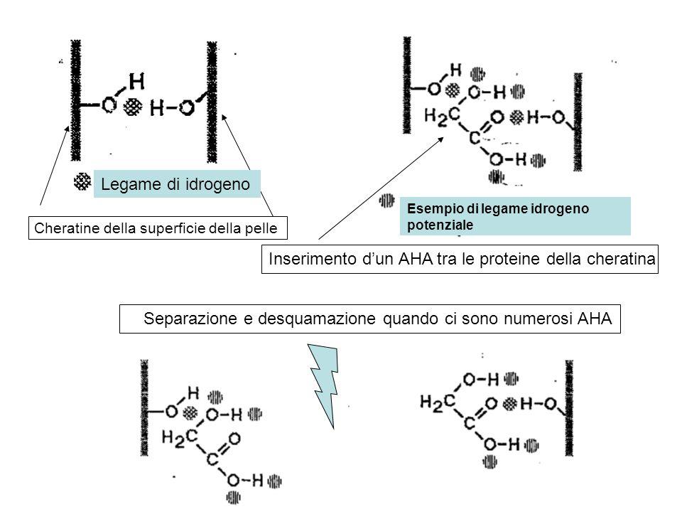 Inserimento d'un AHA tra le proteine della cheratina Cheratine della superficie della pelle Separazione e desquamazione quando ci sono numerosi AHA Le