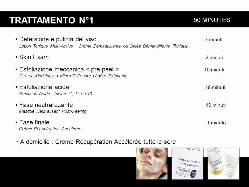 TRATTAMENTO N°1 + A domicilio : Crème Récupération Accélérée tutte le sere 50 MINUTES Detersione e pulizia del viso 7 minuti Lotion Tonique Multi-Acti