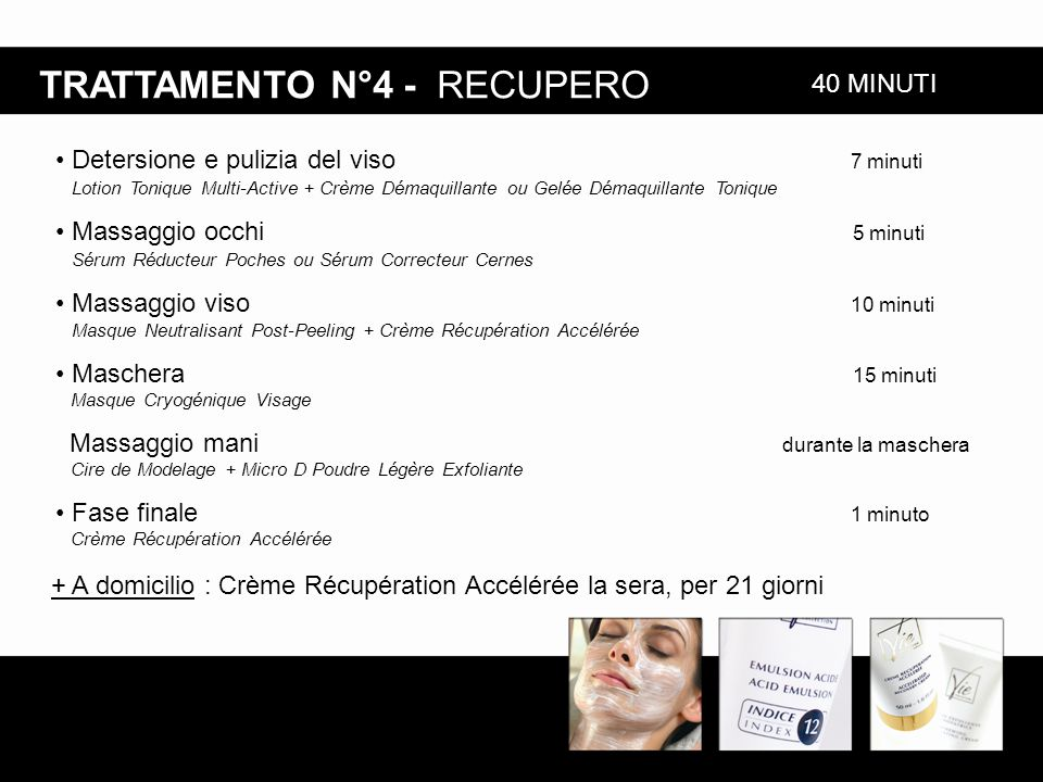 TRATTAMENTO N°4 - RECUPERO + A domicilio : Crème Récupération Accélérée la sera, per 21 giorni 40 MINUTI Detersione e pulizia del viso 7 minuti Lotion