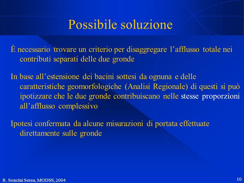 R. Soncini Sessa, MODSS, 2004 10 Possibile soluzione È necessario trovare un criterio per disaggregare l'afflusso totale nei contributi separati delle