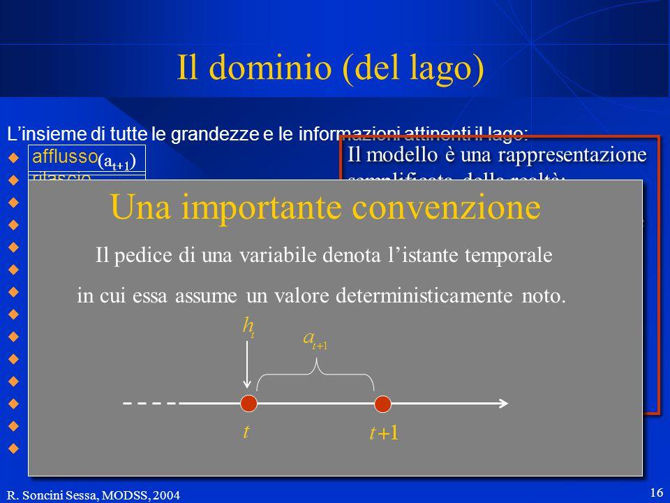 R. Soncini Sessa, MODSS, 2004 16 Il dominio (del lago) L'insieme di tutte le grandezze e le informazioni attinenti il lago:  afflusso  rilascio  li