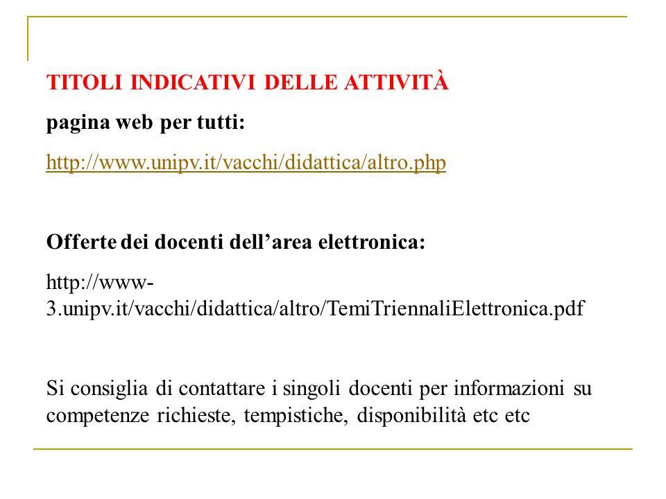 TITOLI INDICATIVI DELLE ATTIVITÀ pagina web per tutti: http://www.unipv.it/vacchi/didattica/altro.php Offerte dei docenti dell'area elettronica: http: