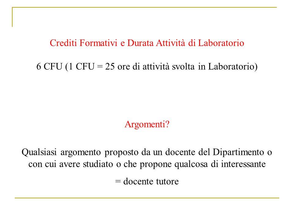 Crediti Formativi e Durata Attività di Laboratorio 6 CFU (1 CFU = 25 ore di attività svolta in Laboratorio) Argomenti? Qualsiasi argomento proposto da