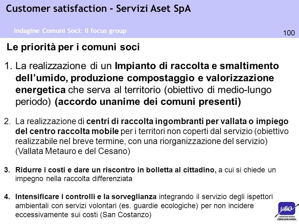 100 Customer satisfaction - Servizi Aset SpA Indagine Comuni Soci: il focus group Le priorità per i comuni soci 1.La realizzazione di un Impianto di r