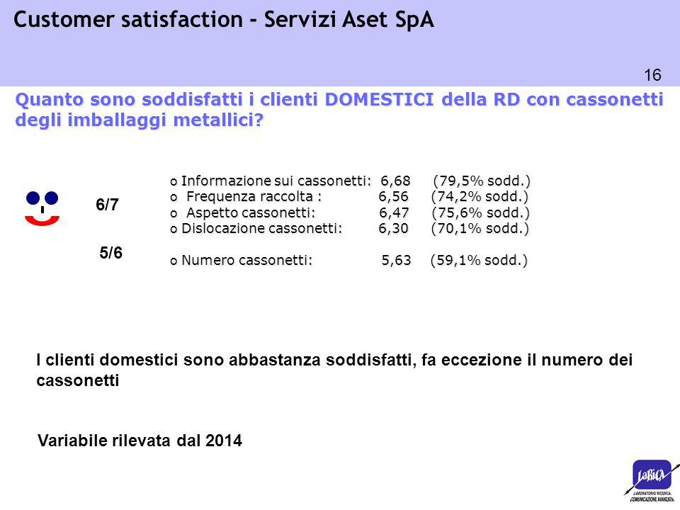 16 Customer satisfaction - Servizi Aset SpA o Informazione sui cassonetti: 6,68 (79,5% sodd.) o Frequenza raccolta : 6,56 (74,2% sodd.) o Aspetto cass