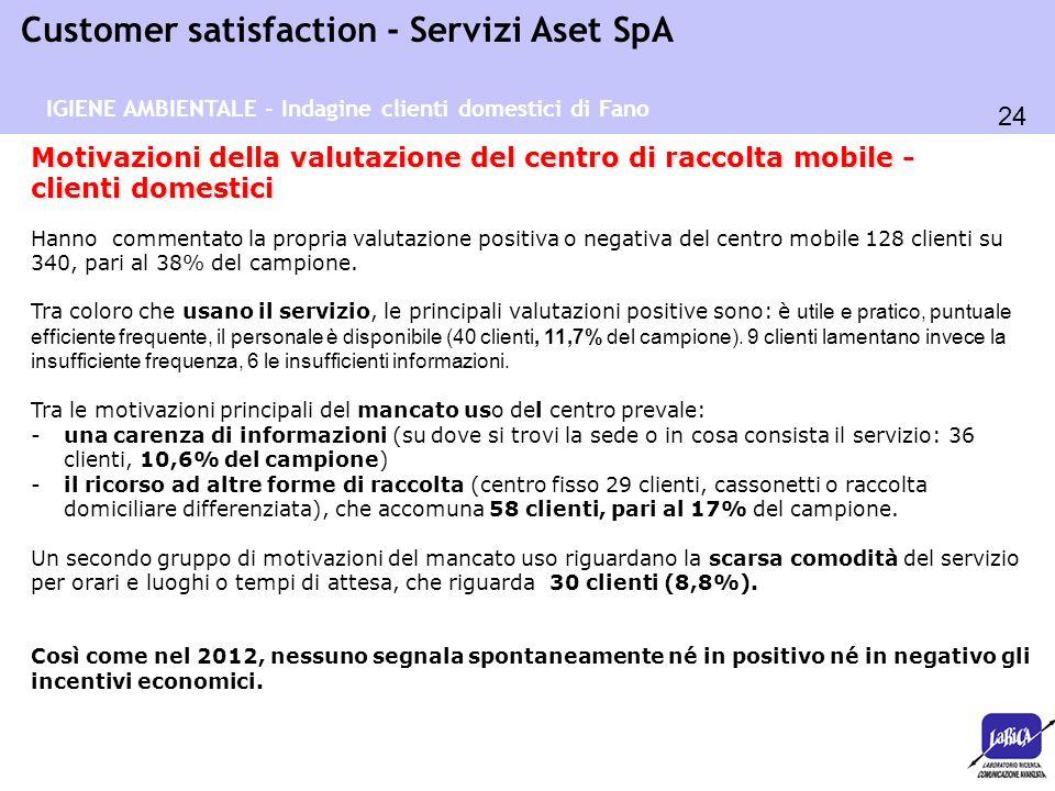24 Customer satisfaction - Servizi Aset SpA Motivazioni della valutazione del centro di raccolta mobile - clienti domestici Hanno commentato la propri