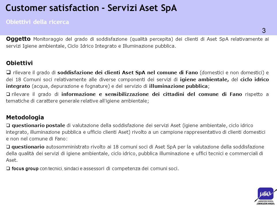 3 Customer satisfaction - Servizi Aset SpA Oggetto Oggetto Monitoraggio del grado di soddisfazione (qualità percepita) dei clienti di Aset SpA relativ
