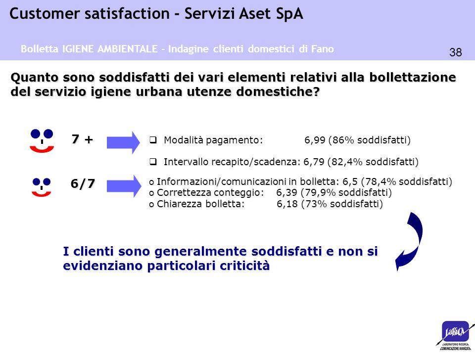 38 Customer satisfaction - Servizi Aset SpA o Informazioni/comunicazioni in bolletta: 6,5 (78,4% soddisfatti) o Correttezza conteggio: 6,39 (79,9% sod