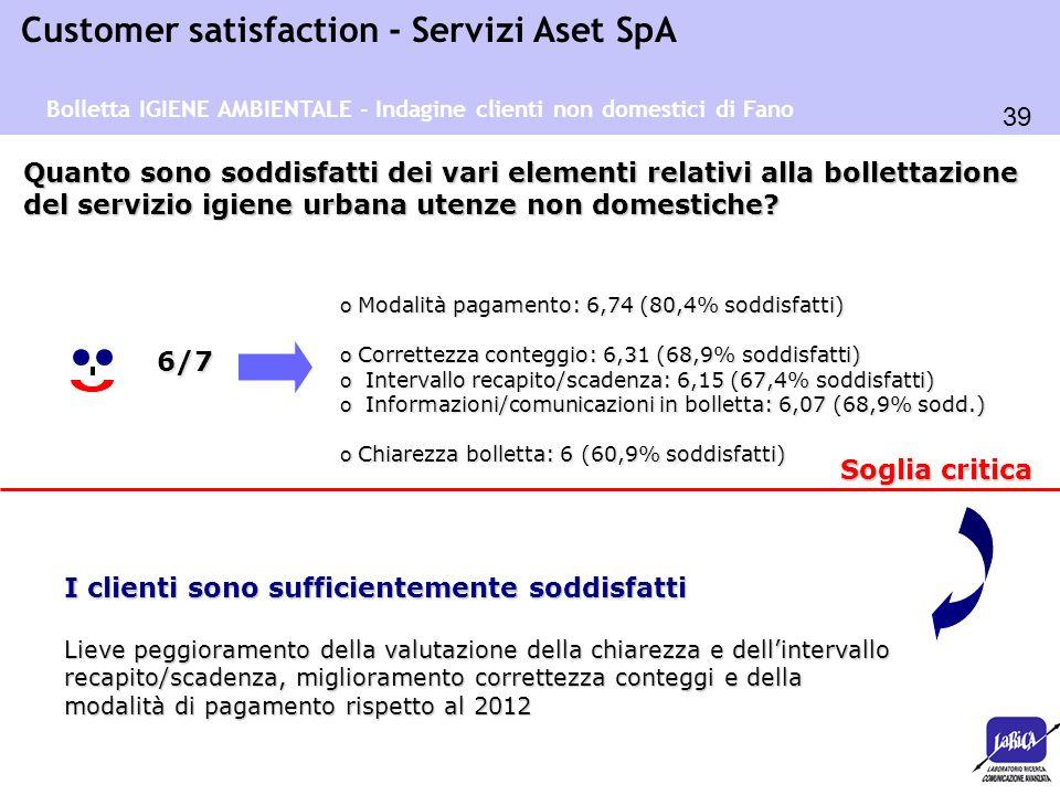 39 Customer satisfaction - Servizi Aset SpA o Modalità pagamento: 6,74 (80,4% soddisfatti) o Correttezza conteggio: 6,31 (68,9% soddisfatti) o Interva