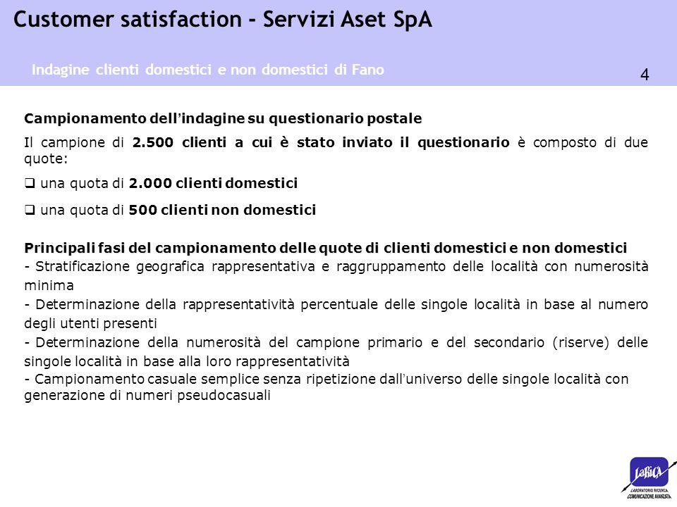 4 Customer satisfaction - Servizi Aset SpA Campionamento dell ' indagine su questionario postale Il campione di 2.500 clienti a cui è stato inviato il