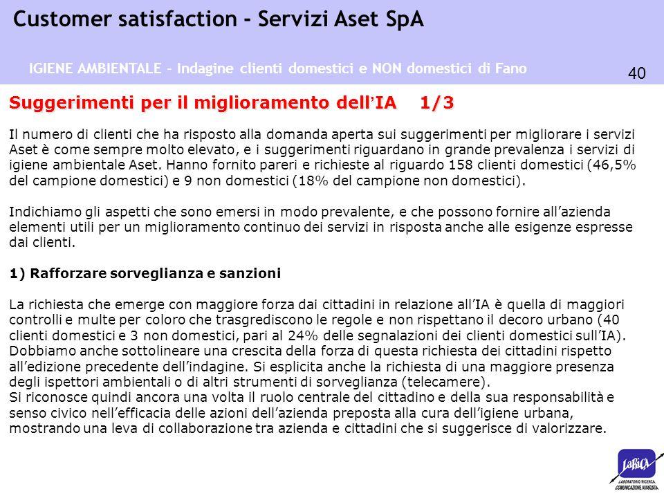 40 Customer satisfaction - Servizi Aset SpA Suggerimenti per il miglioramento dell ' IA 1/3 Il numero di clienti che ha risposto alla domanda aperta s