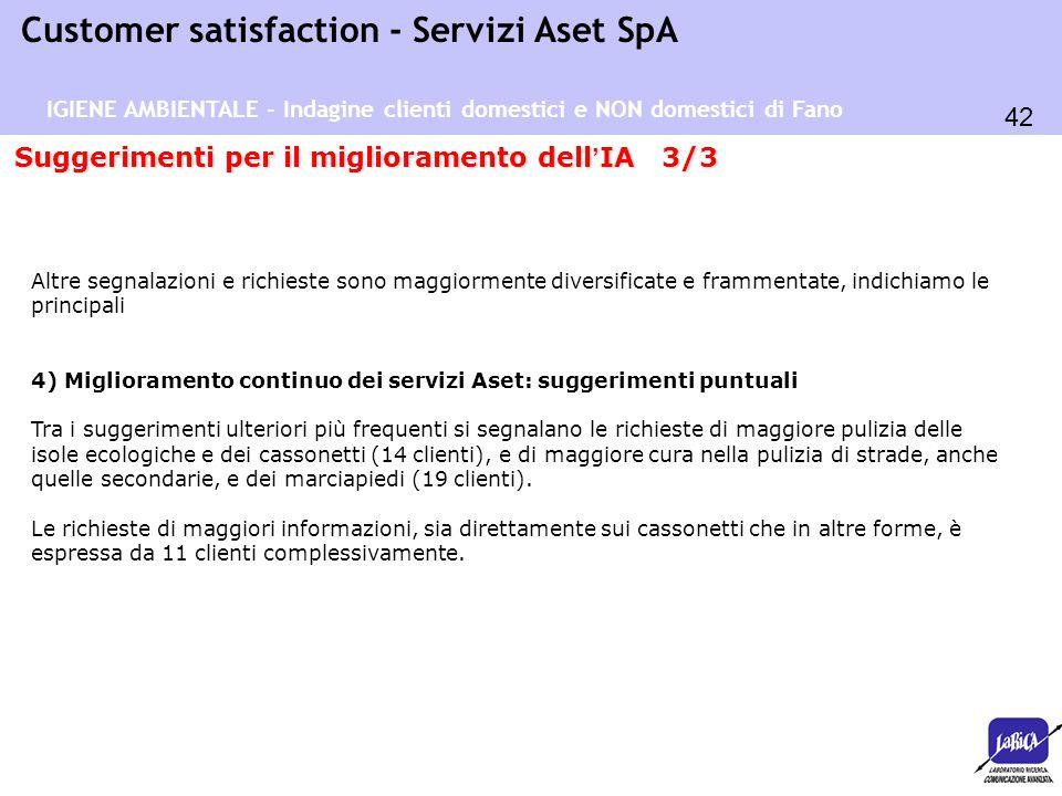 42 Customer satisfaction - Servizi Aset SpA Suggerimenti per il miglioramento dell ' IA 3/3 Altre segnalazioni e richieste sono maggiormente diversifi