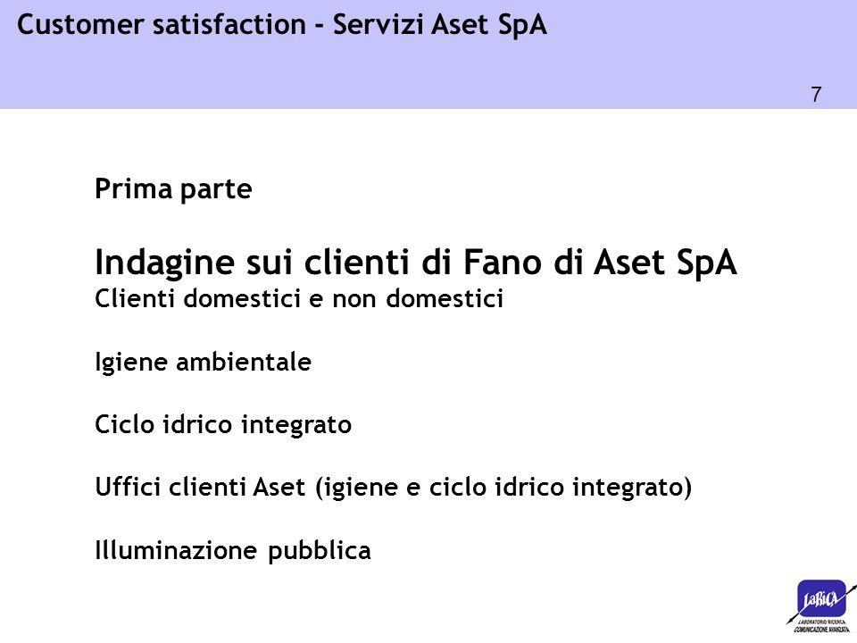 7 Customer satisfaction - Servizi Aset SpA Prima parte Indagine sui clienti di Fano di Aset SpA Clienti domestici e non domestici Igiene ambientale Ci