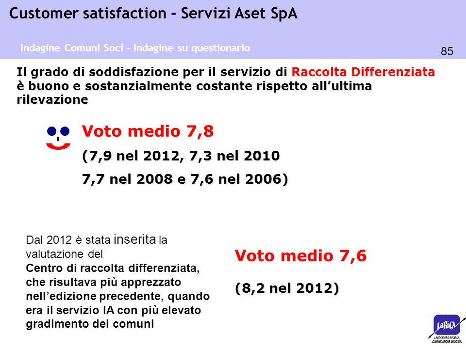 85 Customer satisfaction - Servizi Aset SpA Raccolta Differenziata è buono e sostanzialmente costante rispetto all'ultima rilevazione Il grado di sodd
