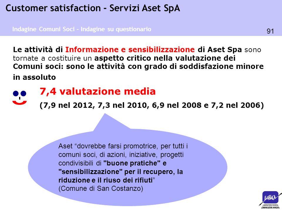 91 Customer satisfaction - Servizi Aset SpA Informazione e sensibilizzazione Le attività di Informazione e sensibilizzazione di Aset Spa sono tornate