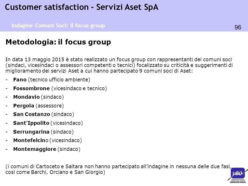 96 Customer satisfaction - Servizi Aset SpA Metodologia: il focus group In data 13 maggio 2015 è stato realizzato un focus group con rappresentanti de