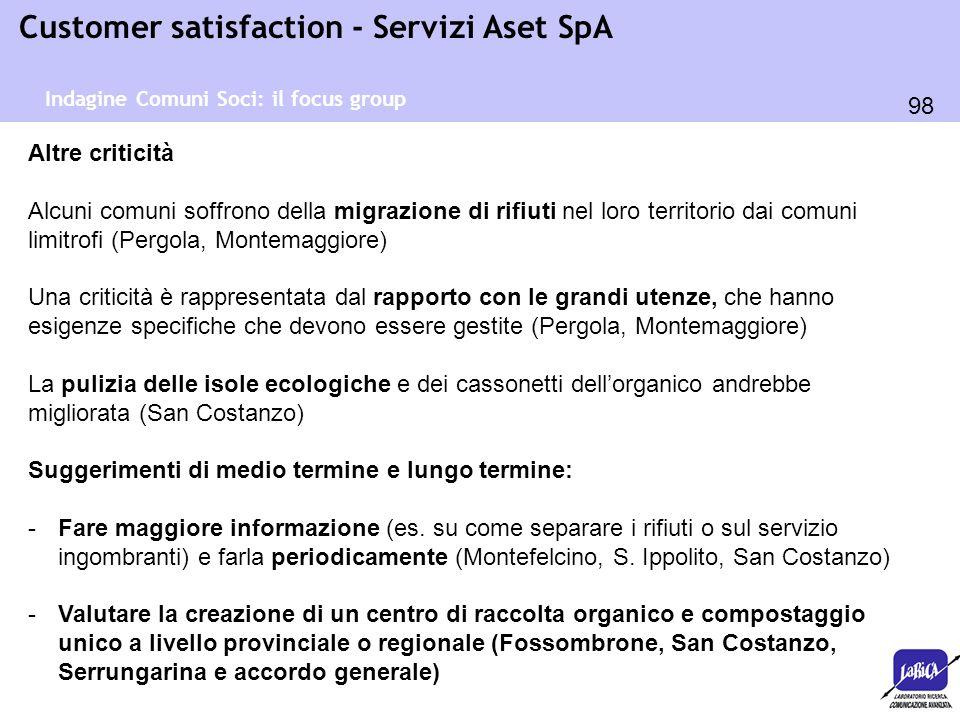 98 Customer satisfaction - Servizi Aset SpA Altre criticità Alcuni comuni soffrono della migrazione di rifiuti nel loro territorio dai comuni limitrof