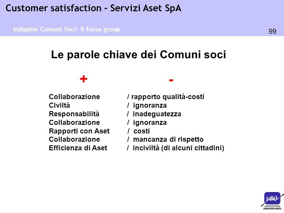 99 Customer satisfaction - Servizi Aset SpA Indagine Comuni Soci: il focus group Le parole chiave dei Comuni soci Collaborazione / rapporto qualità-co
