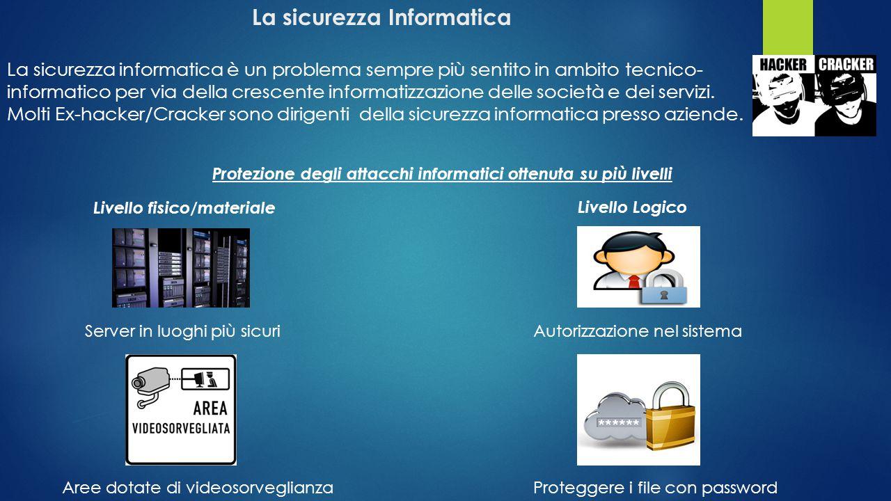 La sicurezza Informatica La sicurezza informatica è un problema sempre più sentito in ambito tecnico- informatico per via della crescente informatizza