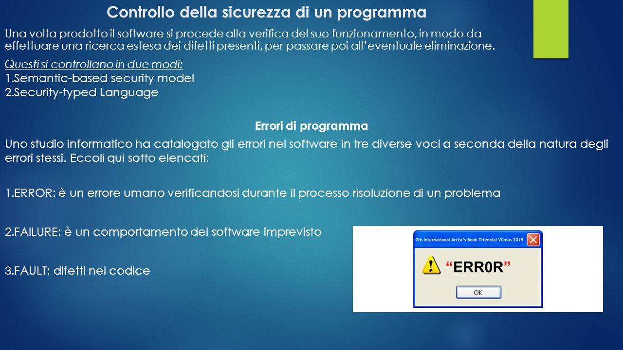 Controllo della sicurezza di un programma Una volta prodotto il software si procede alla verifica del suo funzionamento, in modo da effettuare una ric