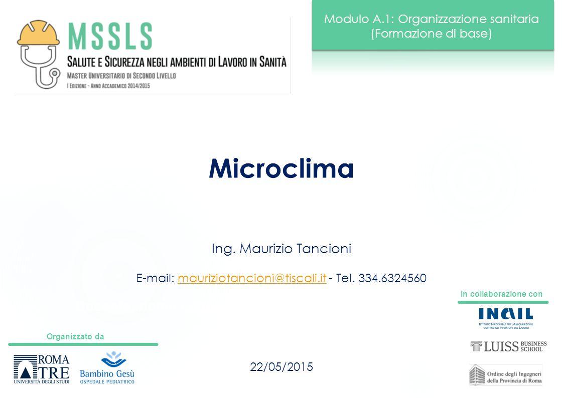 Organizzato da In collaborazione con Modulo A.1: Organizzazione sanitaria (Formazione di base) Docente: nome cognome Microclima 22/05/2015 Ing. Mauriz