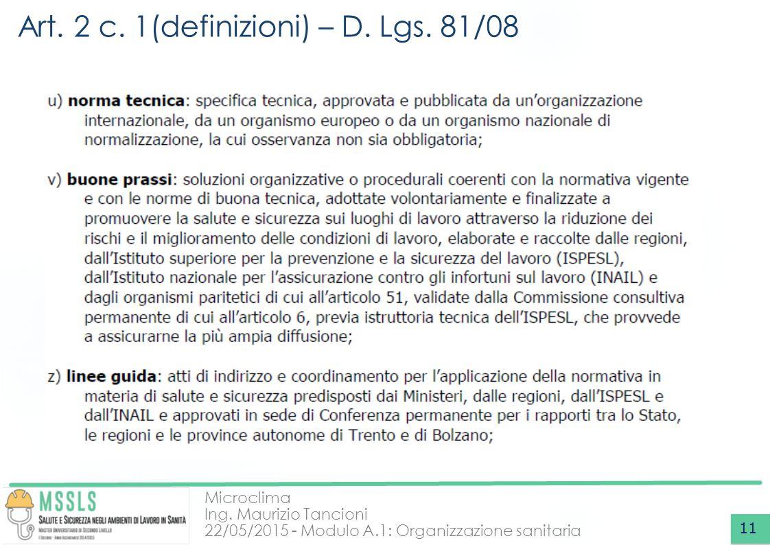 Microclima Ing. Maurizio Tancioni 22/05/2015 - Modulo A.1: Organizzazione sanitaria Art. 2 c. 1(definizioni) – D. Lgs. 81/08 11