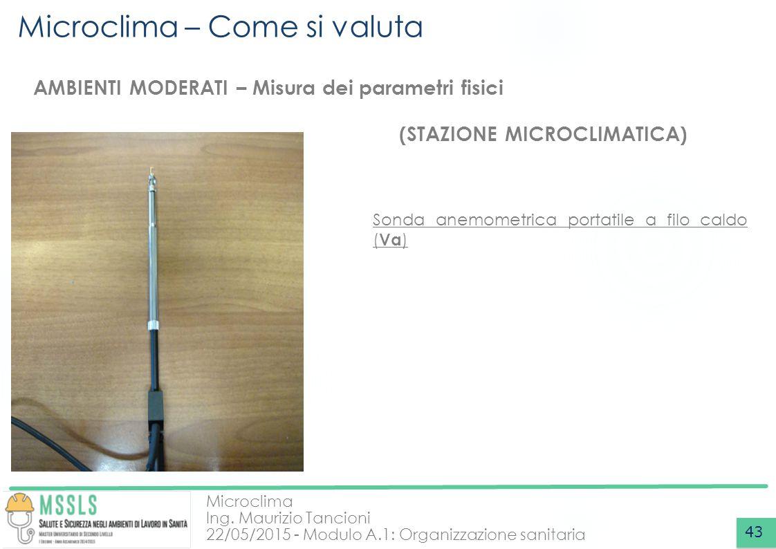Microclima Ing. Maurizio Tancioni 22/05/2015 - Modulo A.1: Organizzazione sanitaria Microclima – Come si valuta 43 AMBIENTI MODERATI – Misura dei para