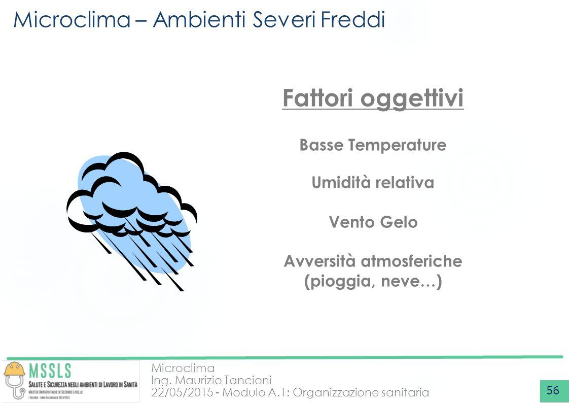 Microclima Ing. Maurizio Tancioni 22/05/2015 - Modulo A.1: Organizzazione sanitaria Microclima – Ambienti Severi Freddi 56 Fattori oggettivi Basse Tem