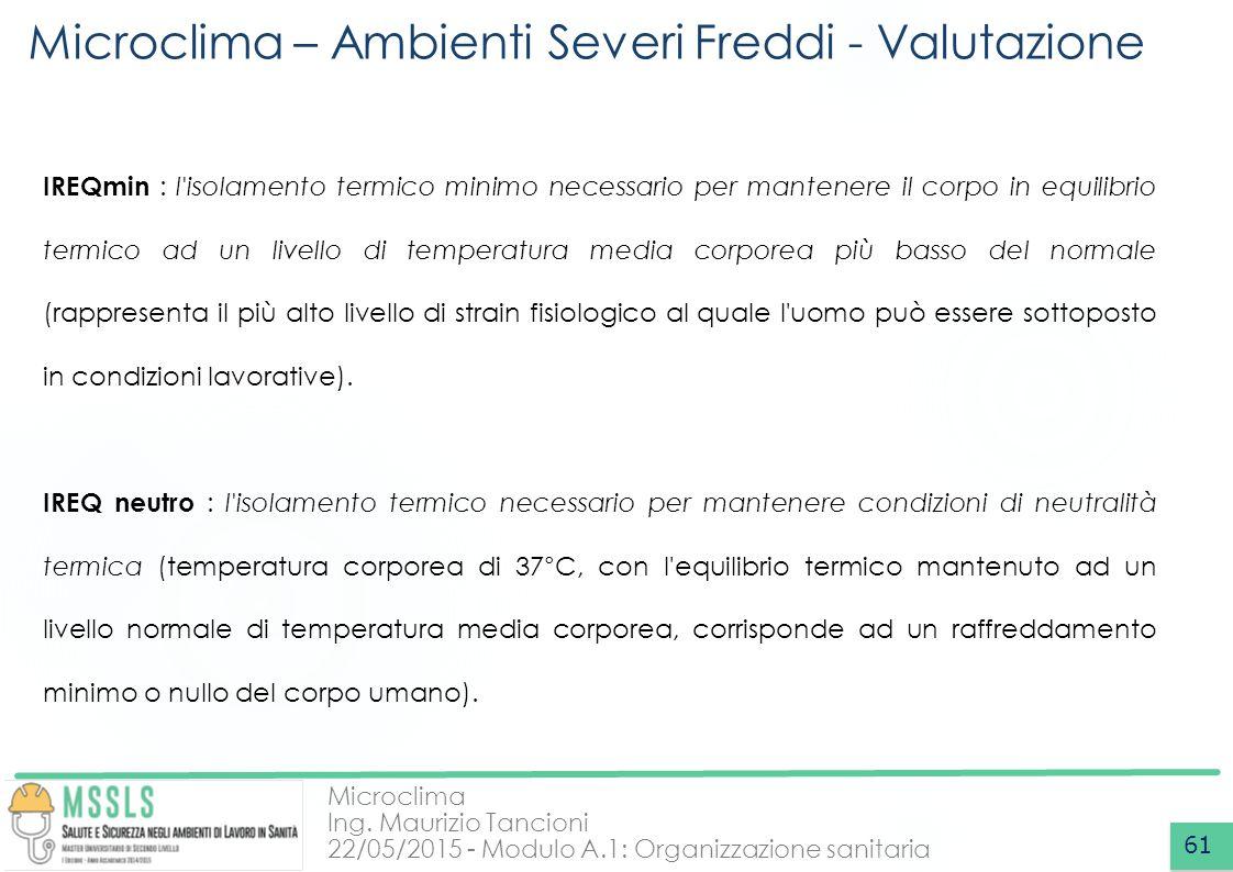 Microclima Ing. Maurizio Tancioni 22/05/2015 - Modulo A.1: Organizzazione sanitaria Microclima – Ambienti Severi Freddi - Valutazione 61 IREQmin : l'i